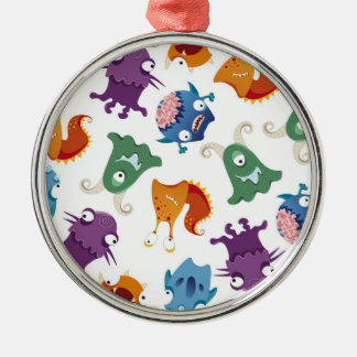 Crazy Monsters Fun Colorful Patterns for Kids Metal Ornament
