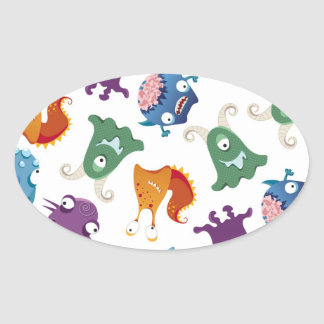 Crazy Monsters Fun Colorful Patterns for Kids Oval Sticker