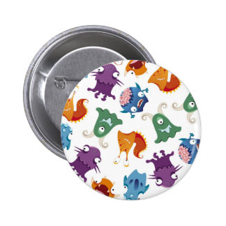 Crazy Monsters Fun Colorful Patterns for Kids Pinback Button