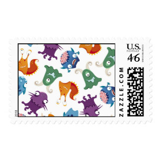 Crazy Monsters Fun Colorful Patterns for Kids Postage Stamp