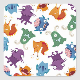 Crazy Monsters Fun Colorful Patterns for Kids Square Sticker