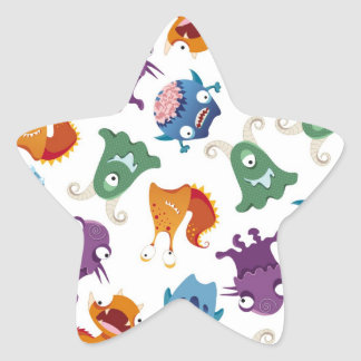 Crazy Monsters Fun Colorful Patterns for Kids Star Sticker