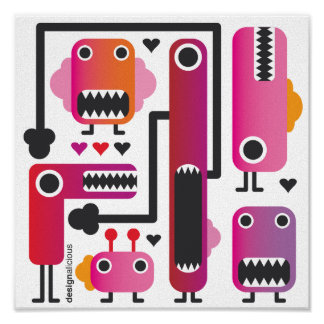 Crazy monsters on canvas poster