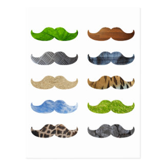 Crazy Moustache Pattern Postcard