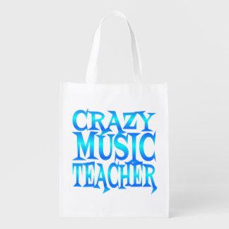 Crazy Music Teacher Reusable Grocery Bags
