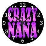 Crazy Nana in Purple Large Clock