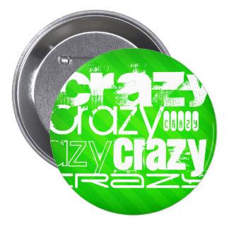 Crazy; Neon Green Stripes 3 Inch Round Button