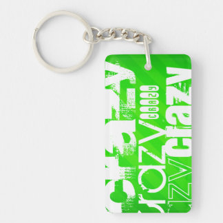 Crazy; Neon Green Stripes Double-Sided Rectangular Acrylic Keychain
