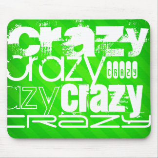 Crazy; Neon Green Stripes Mouse Pad