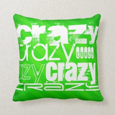 Crazy; Neon Green Stripes Pillows