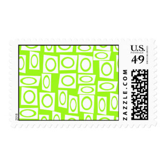 Crazy Neon Lime Green Fun Circle Square Pattern Postage