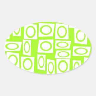 Crazy Neon Lime Green Fun Circle Square Pattern Sticker