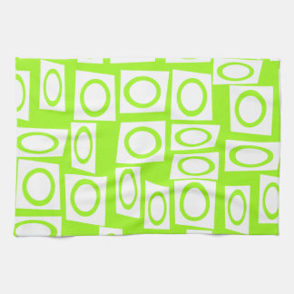 Crazy Neon Lime Green Fun Circle Square Pattern Towel