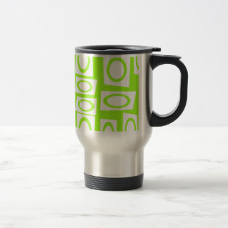 Crazy Neon Lime Green Fun Circle Square Pattern Travel Mug