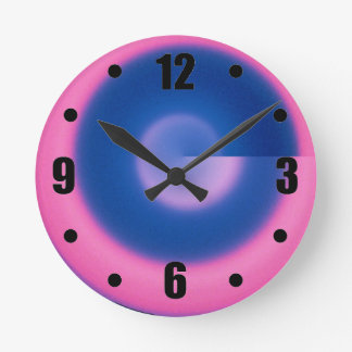 Crazy Neon Pink and Blue Round Wall Clock