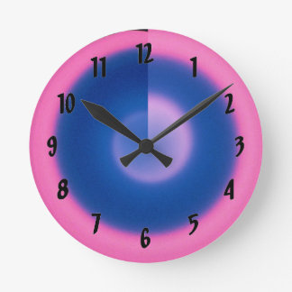 Crazy Neon Pink and Blue Small Round Wall Clock