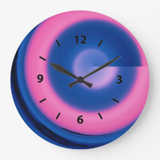 Crazy Neon Pink and Blue Swirl Round Clock