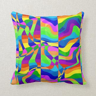 Crazy Neon Rainbow Style Throw Pillow
