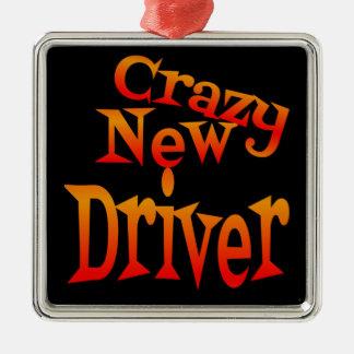 Crazy New Driver Caution Square Metal Christmas Ornament