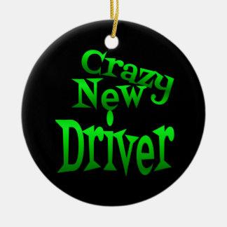Crazy New Driver in Green Ceramic Ornament