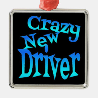 Crazy New Driver Square Metal Christmas Ornament