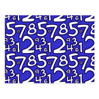 Crazy Numbers - Blue Postcard