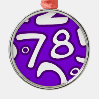 Crazy Numbers - Purple Metal Ornament