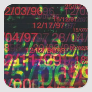 Crazy Numbers Square Stickers