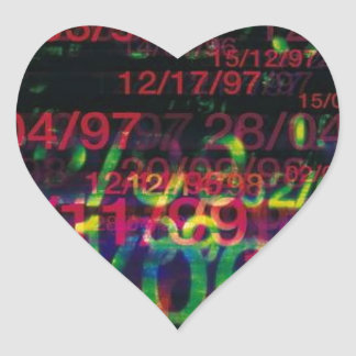 Crazy Numbers Heart Sticker