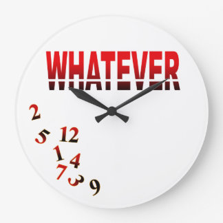 Crazy Numbers Whatever | red black Large Clock
