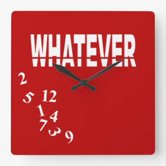 Crazy Numbers Whatever   red white Square Wall Clocks