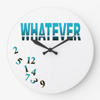 Crazy Numbers Whatever | teal black Large Clock