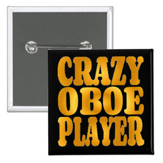 Crazy Oboe Player in Gold 2 Inch Square Button