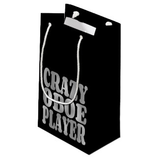 Crazy Oboe Player in Silver Small Gift Bag