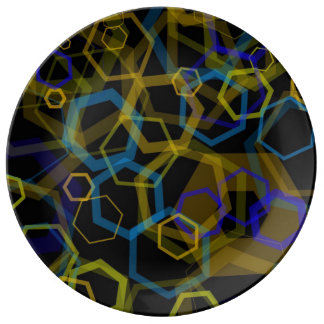 Crazy Octagon Abstract Porcelain Plates