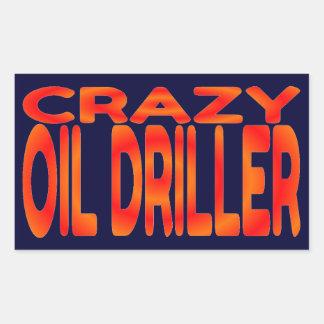 Crazy Oil Driller Rectangular Sticker