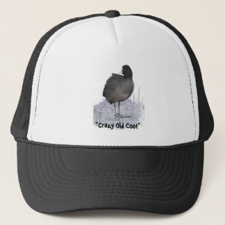 """Crazy Old Coot"" Old Age Fun Coot Bird Art Quote Trucker Hat"