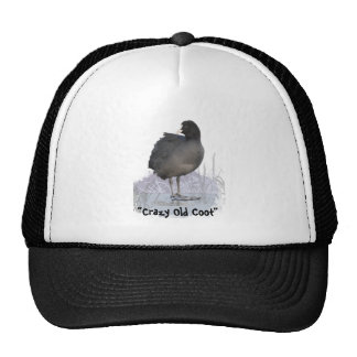 """""""Crazy Old Coot"""" Old Age Fun Coot Bird Art Quote Trucker Hat"""