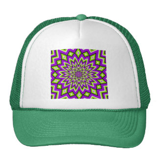 Crazy Optical Illusion - Flowery Green and Purple Trucker Hat