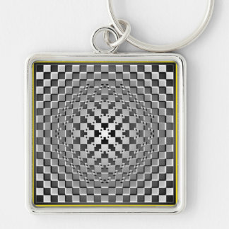 Crazy Optical Illusion - Morphing Metal Square Silver-Colored Square Keychain