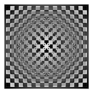 Crazy Optical Illusion - Morphing Metal Square Poster