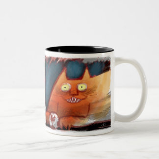 Crazy Orange Cat with Toothy Grin Two-Tone Coffee Mug