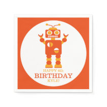 Crazy Orange Robot Personalized Birthday Party Napkin