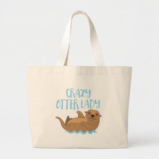 crazy otter lady cute! large tote bag