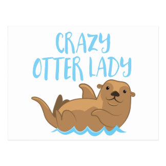 crazy otter lady cute! postcard