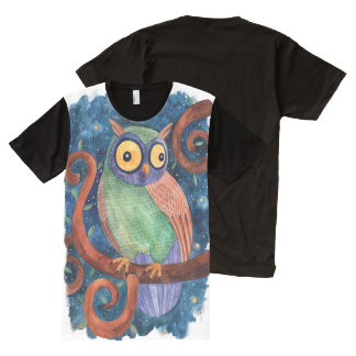 crazy owl All-Over-Print shirt