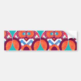 Crazy Owl Colorful Chevron Purple Orange Pink Blue Bumper Sticker