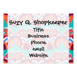 Crazy Owl Colorful Chevron Purple Orange Pink Blue Large Business Cards (Pack Of 100)