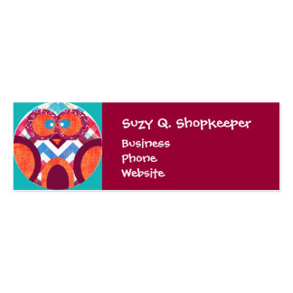 Crazy Owl Colorful Chevron Purple Orange Pink Blue Double-Sided Mini Business Cards (Pack Of 20)