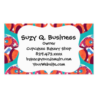 Crazy Owl Colorful Chevron Purple Orange Pink Blue Double-Sided Standard Business Cards (Pack Of 100)